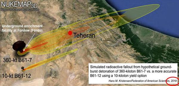 Միջուկային հարուած իրանական Ֆորտօ միջուկային կենտրոնին 360 քիլոթոն հզօրութեամբ Պէ 61-7 ռումբով: Համեմատութեան համար բերուած է նաեւ աշխուժ նիւթերի թափման տիրոյթը 10 քիլոթոն հզօրութեամբ Պէ 61-12 ռումբի համար: