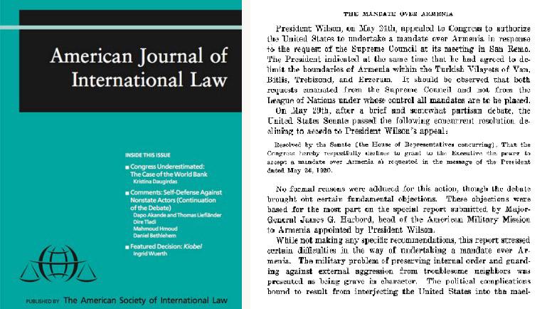 Միջազգային օրէնքի ամերիկեան ամսագիրը եւ յօդուածին առաջին էջը